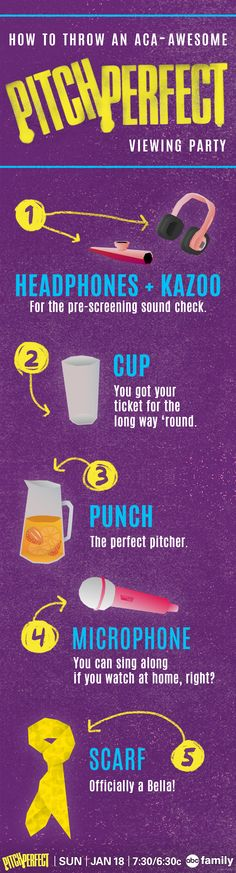 How to throw an aca-awesome Pitch Perfect viewing party. Dont forget to tune in on Sunday at 7:30/6:30c on ABC Family!