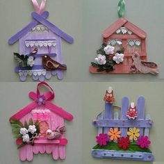 Stik es krim Popsicle Stick Crafts House, Craft Stick Crafts, Fun Crafts, Crafts For Kids, Popsicle Sticks, Easter Crafts, Christmas Crafts, Fairy Crafts, Diy Crafts Hacks