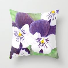"""Pensées / Pansies"" Throw Pillow by Savousepate - $20.00 #throwpillow #pillow #flowers #pansy #pansies #watercolor #homedecor"