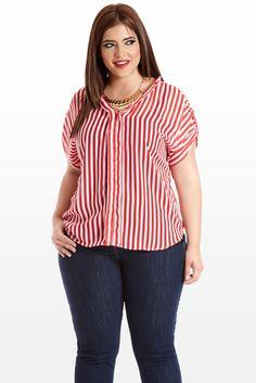 08536ac37 Line and Dandy Sheer Striped Blouse Vestidos De Talla Grande