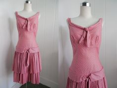 1950's Vintage Pink Polka Dot Pleated Dress by FrenchNavyVintage, $175.00