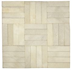 "Edelman Leather ""parquet"" cowhide rug in Bianco."