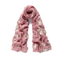 92655 - Pink floral embroidered long scarf. Available in other colour ways.