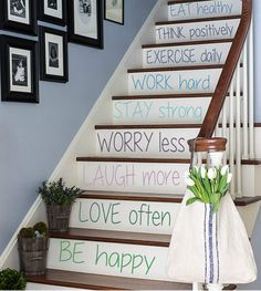 Wall Decals Quote Staircase Stairway Stairs Inspirational Words Phrase Home Vinyl Decal Sticker Kids Nursery Baby Room Decor kk482