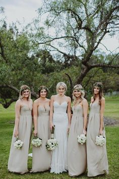 Neutral dresses // great backdrop to colorful flowers