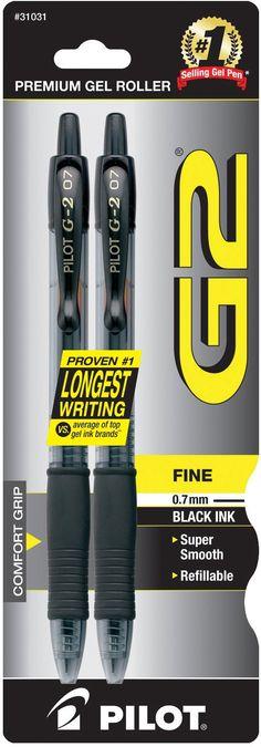 Pilot G2 Retractable Premium Gel Ink Roller Ball Pens, Fine Point, 2-Pack, Black Ink (31031)