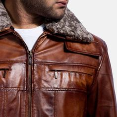 XQS Mens Faux Leather Jacket Motorcycle Bomber Shearling Brown Jacket