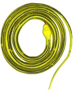 $6 with shipping for one snake...5'long.  could wrap around a more cylindrical basket.  Amazon.com: Large Rubber 5 Ft Yellow Prop Costume Decoration Striped Snake: Toys & Games