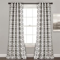 Gray Geometric Curtain Panel Set, 84 in. ($80) ❤ liked on Polyvore featuring home, home decor, window treatments, curtains, window curtains, grey geometric curtains, grommet draperies, grommet curtain panels and grey grommet curtains