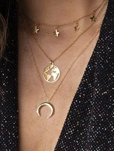 Star Moon Map Layered Necklace – GOLD Source by Sitedetailleplus Cute Necklace, Star Necklace, Layered Necklace, Pendant Necklace, Moon Necklace, Layering Necklaces, Pearl Necklaces, Pearl Jewelry, Jewelry Bracelets