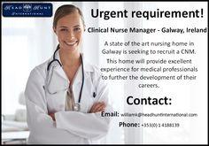 #CNM #Galway #Medical #Hiring #Job #Career #Opportunity #Nursing #Clinical #Manager Clinical Nurse, Job Career, Nursing, Opportunity, Health Care, Management, Medical, Medicine, Med School