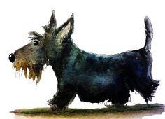 Scottish Terrier Dog Satin Art Print Scottie Dog