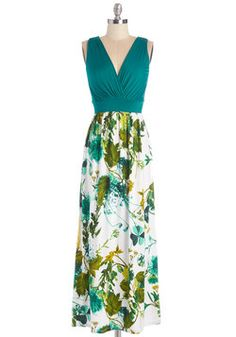 Fab Foliage Dress. A glance outside of your window is a breathtaking sight of sunlit greenery, and an inspiration to don this soft maxi. #green #modcloth