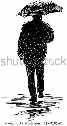 silhouette of a man under an umbrella - stock vector