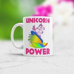 Surfer gift idea - Unicorn Power - coffee tea mug ♥♥♥ Color Changing Mug and White Photo Mug available. ♥♥♥