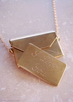 Love Letter Necklace 24k Gold Dipped Locket | Love Letters Necklace Envelope Locket  I Love You Engraving 14k Gold Filled Chain | The Lovely Locket www.thelovelylocket.com