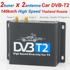 DVB-T220 Car DVB-T2 two tuner dual antenna twin Digital TV receiver Siano chipset high speed