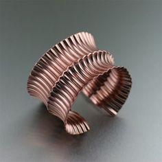 Corrugated Fold Ford Anticlastic Copper Cuff