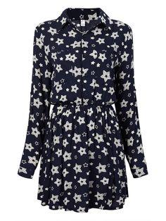 Women Floral Printed Long Sleeve Lapel Pleated Mini Dress - Gchoic.com #Dresses #Women #Fashion #Latest