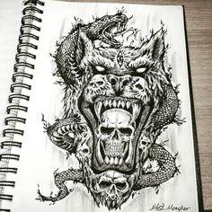 #해골 #타투 #드로잉 #일러스트 #스케치 #sketch #drawing #tattoo #타투도안 #skull #skulltattoo #drawingpen #dark #darkart #art #artwork #블랙 #blackart #linetattoo #lineart #블랙워크  #아트워크 #그림