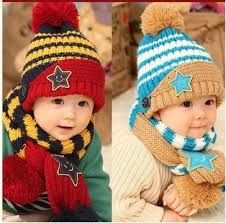 9ddbef5aacf66 2016 Baby Cap Children Warm Hat+Scarf Five Star Two Piece Set Toddler Boys    Girls Hats Winter Gift