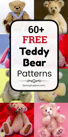crochet teddy bear pattern Lots of free stuffed teddy bear patterns to sew. Many jointed designs with templates. How to make a teddy bear, diy projects & tutorials, teddy bear Diy Teddy Bear, Knitted Teddy Bear, Crochet Bear, Teddy Bears, Teddy Bear Patterns Free, Teddy Bear Knitting Pattern, Teddy Bear Template, Sewing Stuffed Animals, Stuffed Animal Patterns