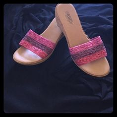 STRAW SANDALS NICE PADDED WEDGE Comfortable tri-color sandal magenta, purple and hot pink.  Looks good on foot, great for all summer fashions.  Hardly worn. Made in Italy. Seychelles Shoes Sandals