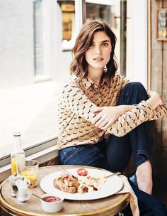 Doxen print blouse and blue jeans | Boden Fall '14