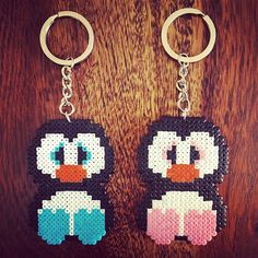 Penguin keyrings hama mini beads by t.smar