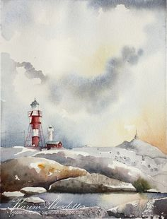 Peppermint Patty's Papercraft: Sunday Watercolors : Stormy West Coast Archipelago + #WorldWatercolorMonth | #lighthouse