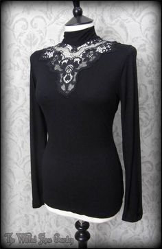 Gothic Victorian Black Lace Applique High Collar Top 14 Elegant Vintage Romantic | THE WILTED ROSE GARDEN
