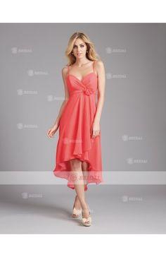 A-Line Sweetheart Zipper High-Low Chiffon Sleeveless Bridesmaid Dresses