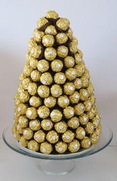 Wedding buffet Ferrero Rocher tower by LoveChocolateBouquets