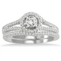 3/4 Carat Halo Diamond Bridal Set in 10K White Gold