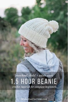 1 Hour Knit-Look Beanie Crochet pattern by Jess Coppom Make & Do Crew Blasen 1 Hour Knit-Look Beanie Crochet pattern by Jess Coppom Make & Do Crew Easy Crochet Hat Patterns, Crochet Hat For Women, Crochet Beanie Pattern, Crochet Patterns For Beginners, Crochet Baby, Free Crochet, Knit Crochet, Crochet Adult Hat, Crochet Toddler Hat