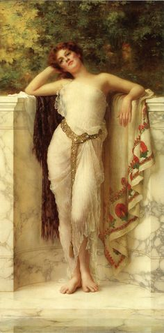 """William Clarke Wontner (1857-1930) A Classical Beauty Oil on canvas  143.5 x 71.1 cm (56½"""" x 27.99"""") Private collection"""