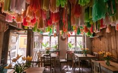 Colours, colours, colours! We love them! Look at our delightful decoration at Weranda Caffe, Poznan, Poland.   Check our website! http://werandafamily.com/en/  #werandafamily #restaurant #decor #decoration #interiordesign #summer #food