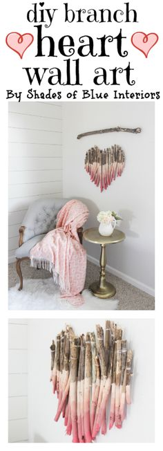 Valentine's branch heart wall art with GIF tutorial