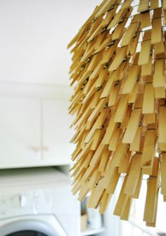 DIY Clothespin Pendant Light for your laundry room! | Young House Love