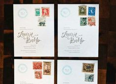 Letterpress Rubber Stamp Wedding Invitations Allie Peach6 550x397 Laurie + Bohbs Travel Inspired Vintage Stamp Save the Dates
