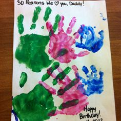 Birthday Card for dad! We changed it a little so 3 hands for 30 yrs!