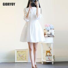 Barato GIORYOY vestido verão mulheres branco floral vestidos de chiffon  elegante camiseta roupa das mulheres de 365db9e6ba69