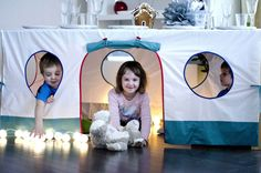 Back in January we featured this fantastic DIY tablecloth playhouse. As simple as it seems maybe you, like me, just don't have the spare time at the end of the day to get behind a sewing machine. Still, that doesn't mean we need to miss out on the joys of a playhouse that can be folded away and tucked into that tiny space left in the family linen closet, right? Here are 5 terrific tablecloth playhouses that busy Moms and Dads can buy, rather than DIY.