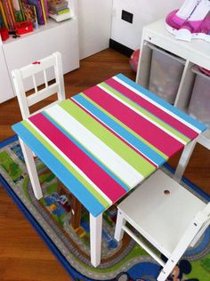 kritter table from ikea, painted stripes on it
