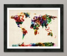 Map of the World Map Abstract Painting, Art Print, 18x24 inch (904)