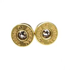 Bullet Studs - Sterling Silver Post + Crystal Earrings