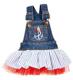 Denim Nautical Dog Dress, Clothing, Couture Luxury Designer, Sailing, Pet, Puppy, Designer, Boutique