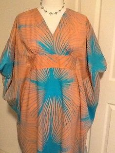 Womens Caribelle Batik Plus Size Caftan Coral Turquoise Free Size EUC