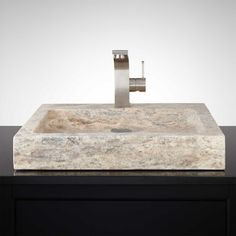 Square Polished Travertine Vessel Sink - Silver
