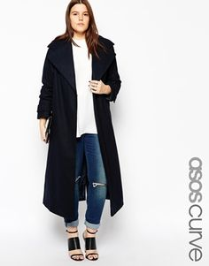 ASOS CURVE Coat With Military Detail In Maxi Length #winter2015 #musthave #maxicoat